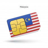 Malaysia mobile phone sim card with flag.
