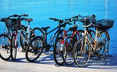 bicycle parking on the sea background