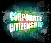 foto of citizenship  - corporate citizenship words on digital screen with world map - JPG