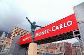 Bronze Statue And Signboard, Monaco, Monte-carlo.