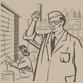 pic of conduction  - Chemists conducting research in the laboratory retro illustration - JPG