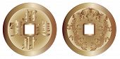 foto of gey  - The two sides of a typical I Ching coin isolated over a white background - JPG