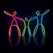 Vector illustration of three swirly figures holding hands