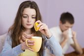 picture of high fever  - Sick woman and man have cold - JPG