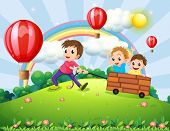 Illustration of the three boys playing at the hilltop with a rainbow and floating balloons