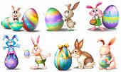 foto of easter eggs bunny  - Illustration of the Easter eggs with playful bunnies on a white background - JPG