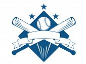 pic of superimpose  - Championship or league baseball emblem with a blank wavy ribbon banner with copyspace over crossed bats and a ball superimposed on a diamond with stars - JPG