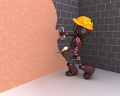3D Render of an Android plastering a wall