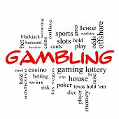 Gambling Word Cloud Concept In Red Caps