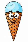 Fun happy cartoon ice cream cone