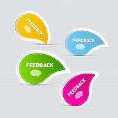 Colorful Feedback Icons Isolated on Grey Background