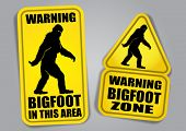 stock photo of bigfoot  - Bigfoot Warning Signs - JPG