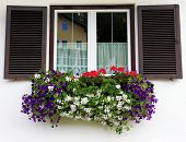 Picturesque window with flower pots. Dachstein huge tourist complex in Austrian Alps