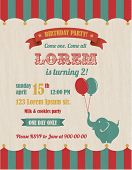 Circus Happy Birthday Card Invitation Design with Elephant