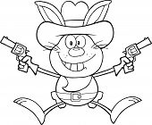 Black And White Cowboy Rabbit Cartoon Character Holding Up Two Revolvers