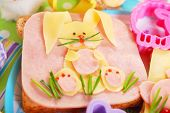 foto of baby easter  - easter sandwich with funny bunny made from ham  - JPG