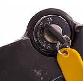 stock photo of beep  - Key of an old motorcycle selective focus isolated - JPG