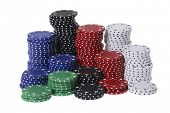 organized pile of gambling chips on white background