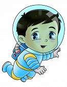 stock photo of chibi  - Cute cartoon illustration of an astronaut isolated on white - JPG