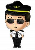 picture of chibi  - Cute cartoon illustration of a pilot isolated on white - JPG