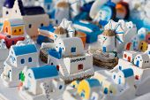 Small model houses of Santorini in Greece