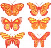 vector color set of colored butterflies