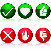 stock photo of positive negative  - Icon set with different positive and negative options for interaction buttons - JPG