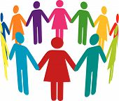 image of holding hands  - Colourful people holding hands in a circle - JPG