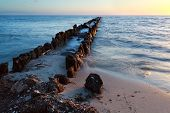 Old Wooden Breakwater In North Sea At Sunset