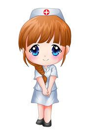 image of chibi  - Cute cartoon illustration of a nurse isolated on white - JPG