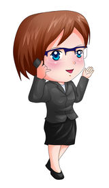 pic of chibi  - Cute cartoon illustration of a woman figure in a suit using cellular phone - JPG