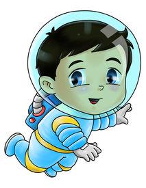 stock photo of chibi  - Cute cartoon illustration of an astronaut isolated on white - JPG