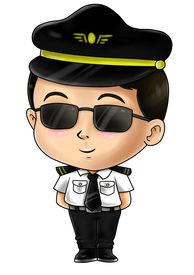 image of chibi  - Cute cartoon illustration of a pilot isolated on white - JPG