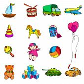 stock photo of drum-set  - Vintage kids toys color sketch icons set of yacht drum truck airplane isolated vector illustration - JPG