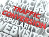 Traffic Conversion - Red Wordcloud Concept.