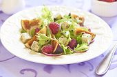 Fresh salad with blue cheese, raspberry and figs