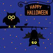Happy Halloween Owl And Bat Card.
