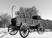 foto of stagecoach  - Old covered wagon from the wild west - JPG