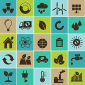 Ecology flat material design concept with ecology environment green energy icons set