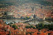 bird's-eye view on the Prague ,Charles Bridge on the Vitava river with Instagram effect filter