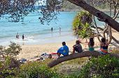 Children At Beach In Noosa National Park, Queensland Australia.