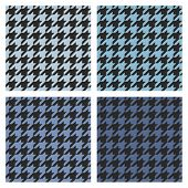 Houndstooth vector seamless navy blue and black pattern set. Tweed fashion background