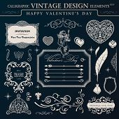 Calligraphic vintage ornament set. Happy valentines day design elements