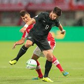 VIENNA, AUSTRIA - SEPTEMBER 10 Aleksandar Dragovic (#3 Austria) and Shane Long (#9 Ireland) fight for the ball at a World Cup Qualifying game on September 10, 2013 in Vienna, Austria.
