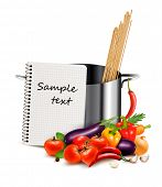 Recipe template. Cookbook, vegetables and casserole. Vector