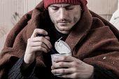 Frozen Homeless Man Eat