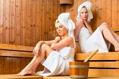 stock photo of sauna  - Two Women in wellness spa relaxing in wooden sauna - JPG