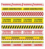 picture of dangerous  - Yellow security warning tapes with text Warning - JPG