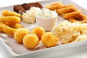 Beef Plate - Garlic Toasts with Parmesan Cheese, Cheese Balls and Calamari Rings. Garnished with Tartar Sauce