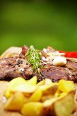 Grilled T-bone steak seasoned with spices and fresh herbs